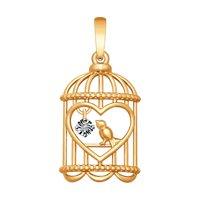 Подвеска из золота с бриллиантом «Птичка в клетке»