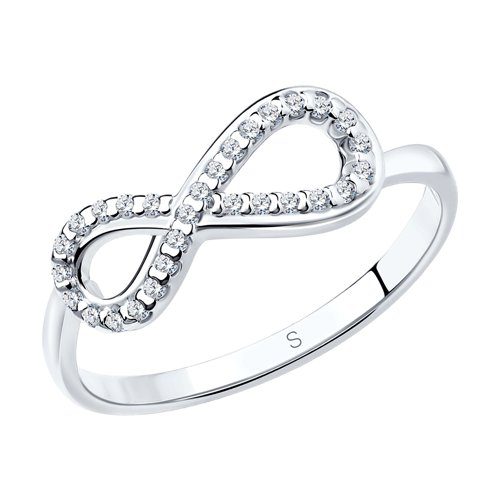Кольцо бесконечность из серебра с фианитами (94011256) - фото