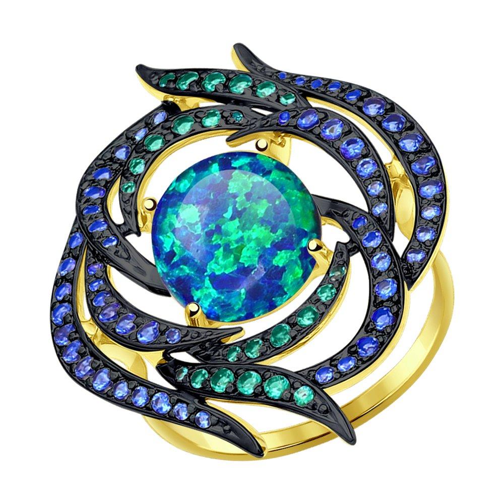 Фото - Кольцо SOKOLOV из желтого золота с синим опалом и зелеными и синими фианитами кольцо sokolov из желтого золота с синими корунд синт синим опалом и зелеными и синими фианитами