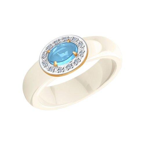 Керамическое кольцо с золотом и миксом камней (6015018) - фото