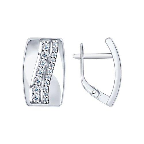 Серьги из серебра с фианитами (94022094) - фото