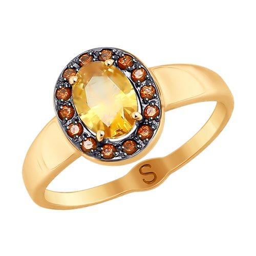 Кольцо из золота с жёлтым Swarovski Zirconia (81010366) - фото