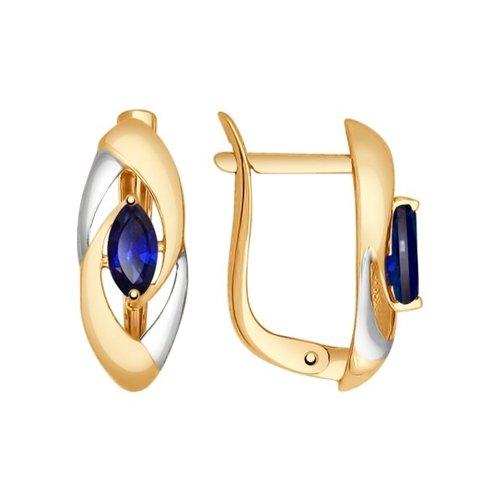 Серьги SOKOLOV из золота с корундами сапфировыми (синт.) jv серебряные серьги с синт кварцами синт аметистами и куб циркониями a4743 ams qz 001 wg