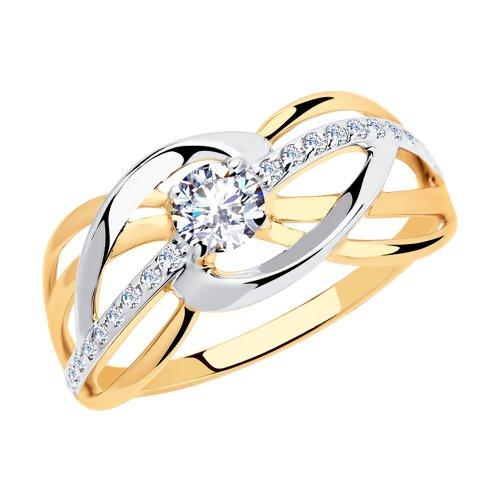 Кольцо из золота с фианитами (018149) - фото