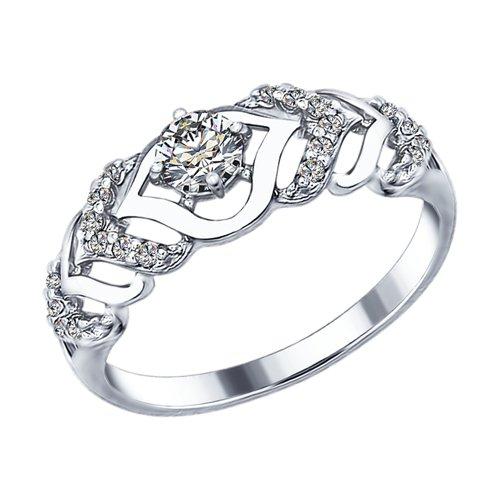 Кольцо из серебра с фианитами (94012351) - фото