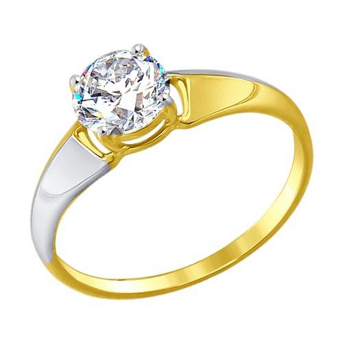 Кольцо из желтого золота с фианитом (017397-2) - фото