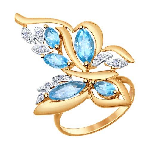 Кольцо «Бабочка» из золота с топазами и фианитами (714771) - фото