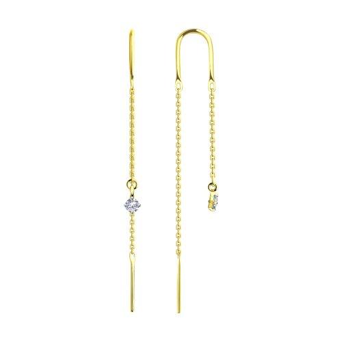 Серьги из желтого золота с фианитами (028026-2) - фото