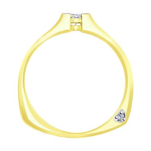 Кольцо из желтого золота с бриллиантами (1011705-2) - фото №2