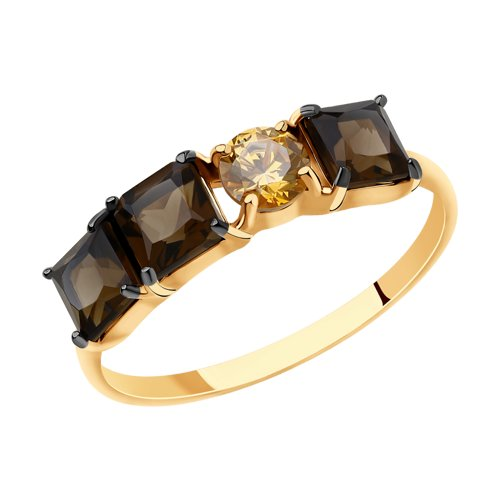Кольцо из золота с раухтопазами и фианитом (715672) - фото