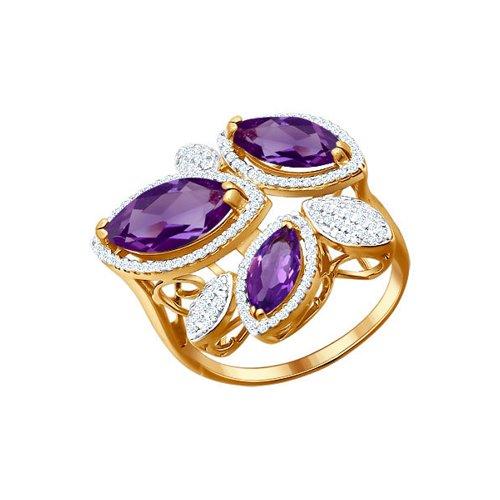 Золотое кольцо с сиреневым камнем SOKOLOV золотое кольцо ювелирное изделие k 11013