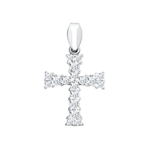 Крест из белого золота с бриллиантами (1120040) - фото