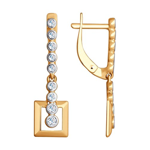 Серьги из золота с фианитами (027990) - фото