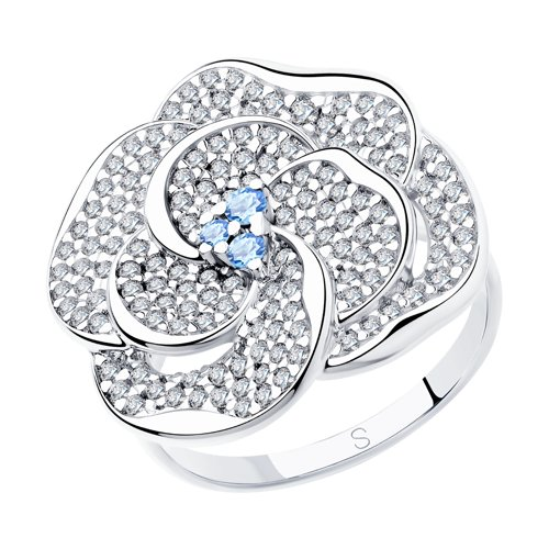 Кольцо из серебра с фианитами (94012997) - фото