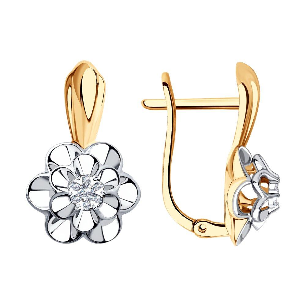 Серьги SOKOLOV из комбинированного золота с бриллиантами серьги sokolov из комбинированного золота с бриллиантами