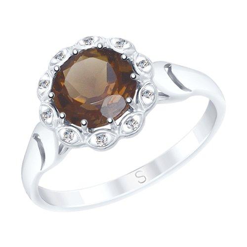 Кольцо из серебра с раухтопазом и фианитами (92011535) - фото