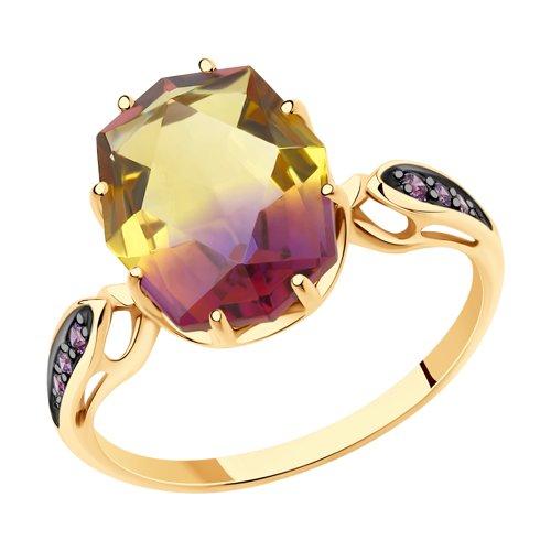Кольцо из золота с ситаллом аметрин и фианитами (715718) - фото
