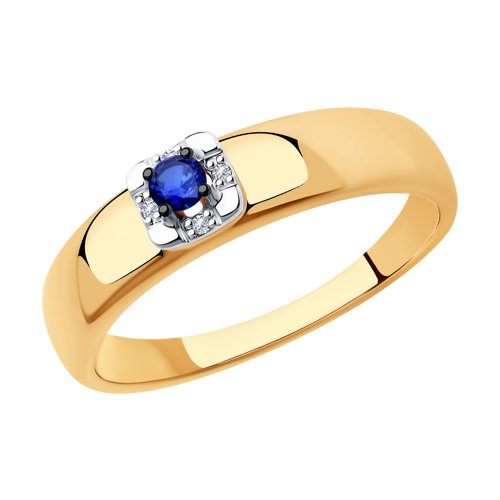 Кольцо из золота с бриллиантами и сапфиром (2011139) - фото