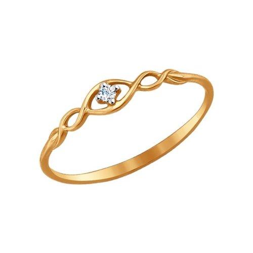 Помолвочное кольцо из золота с фианитом 017141 sokolov фото