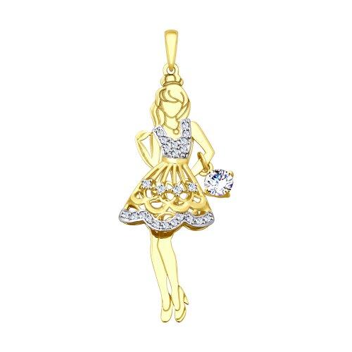 """Подвеска """"Девушка"""" из желтого золота"""