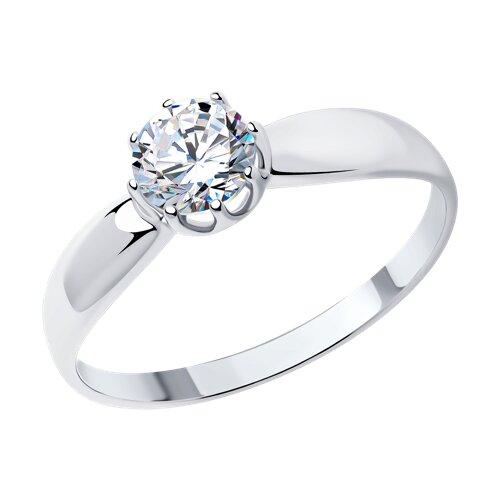 Помолвочное кольцо из серебра с фианитом (89010029) - фото