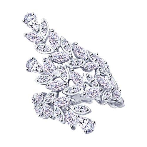Кольцо из серебра с фианитами (94012775) - фото