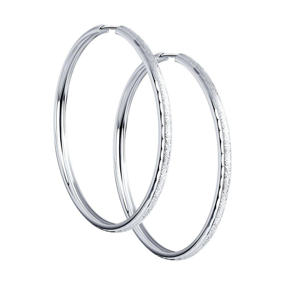 Серьги конго SOKOLOV из серебра с алмазной гранью и матированием