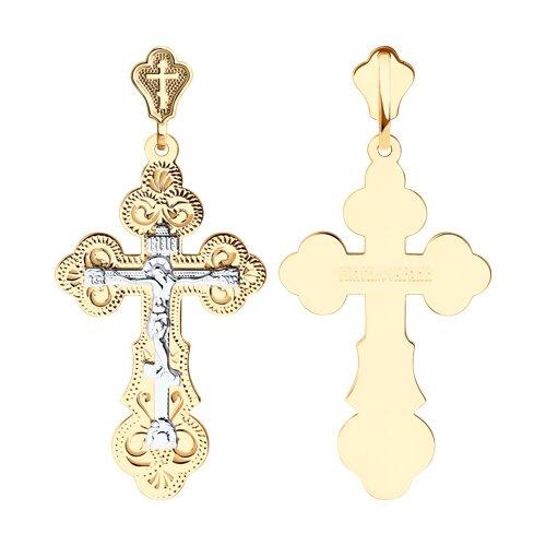 Крест из комбинированного золота с гравировкой (121004) - фото
