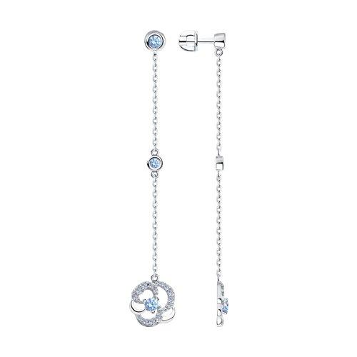 Серьги из серебра с фианитами (94023580) - фото