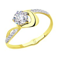 Кольцо из желтого золота с фианитами
