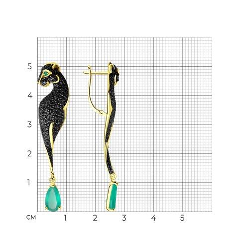Серьги из желтого золота с агатами и фианитами 726178-2 SOKOLOV фото 2