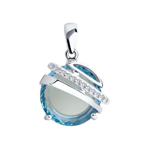 Подвеска из серебра с голубым ситаллом и фианитами