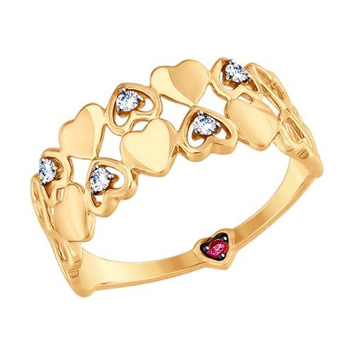 Кольцо из золота с бесцветными и красным фианитами (017532) - фото