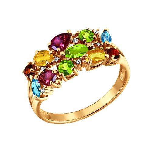 Кольцо из золота c гранатами, родолитами и топазами