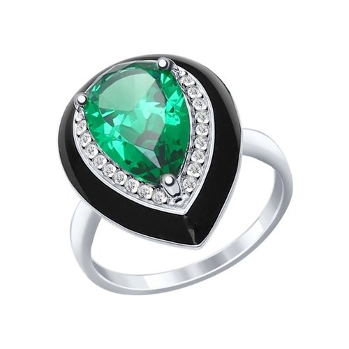Кольцо из серебра с эмалью с зелёным ситаллом и фианитами