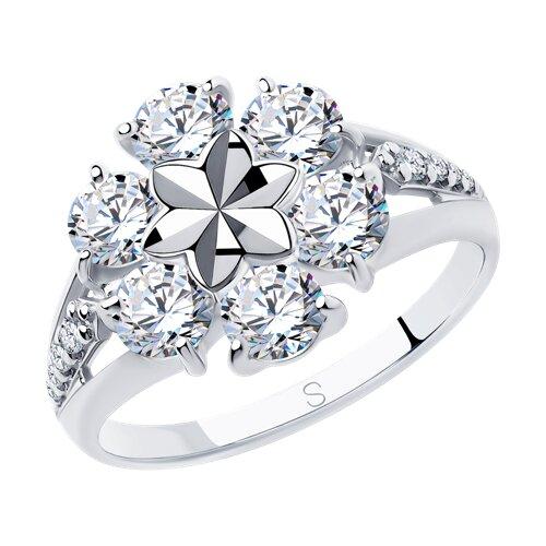Кольцо из серебра с алмазной гранью с фианитами (94012977) - фото