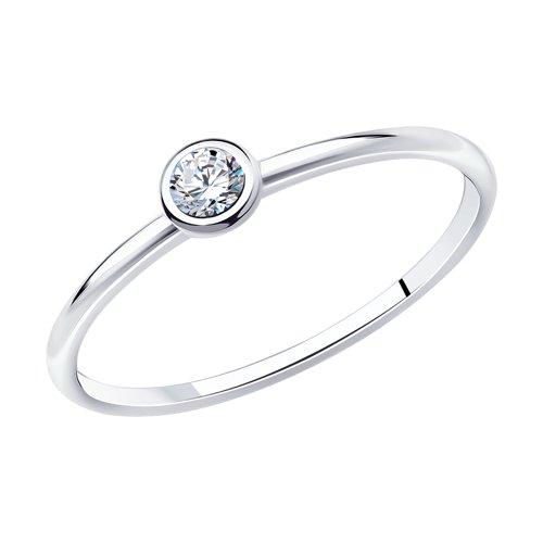 Помолвочное кольцо из серебра c фианитом (94010630) - фото