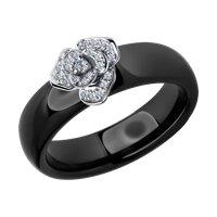 Кольцо из белого золота с бриллиантами и чёрными керамическими вставками
