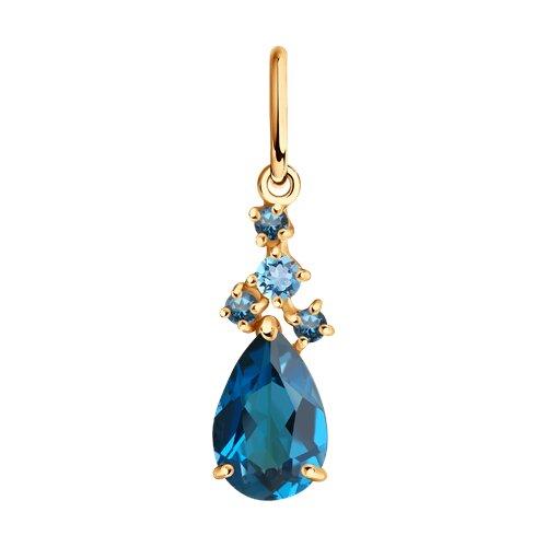 Подвеска из золота с голубым и синими топазами
