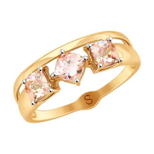 Кольцо из золота с розовыми Swarovski Zirconia