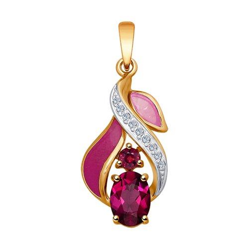 Подвеска из золота с эмалью с бриллиантами и рубинами (6039021) - фото