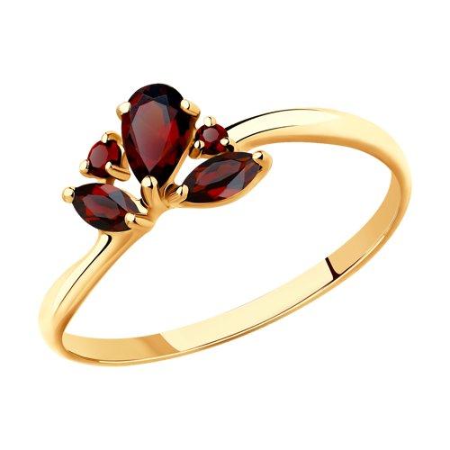 Кольцо из золота с гранатами (715468) - фото