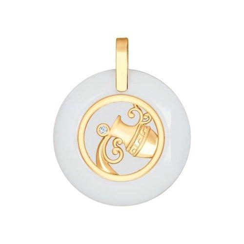 Керамическая подвеска «Знак зодиака Водолей» SOKOLOV из золота