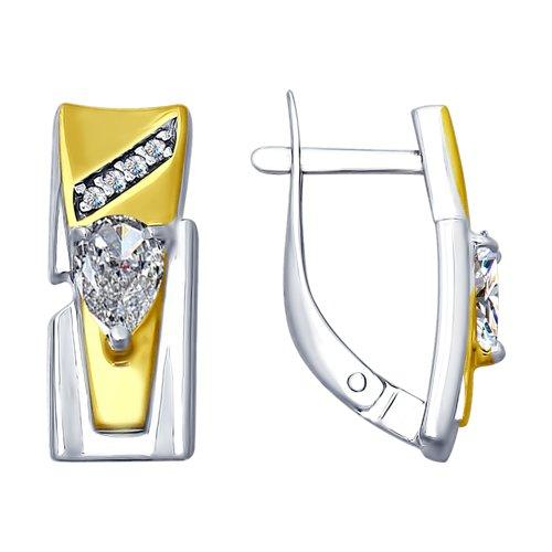 Серьги из золочёного серебра с фианитами (94022607) - фото