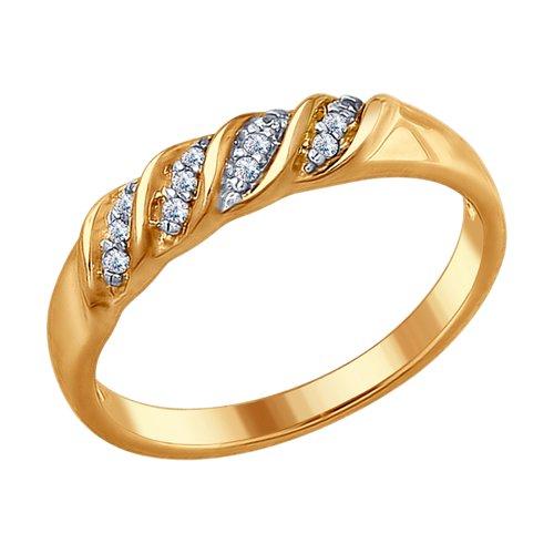 Кольцо из золочёного серебра с фианитами (93010671) - фото