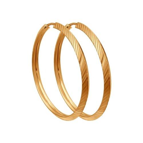 """Золотые серьги """"Конго"""", диаметром 30 мм. 140043 sokolov фото"""