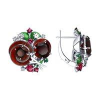 Серьги из серебра с эмалью и красными ситаллами и фианитами