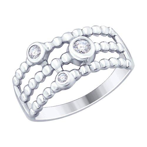 Кольцо из серебра с фианитами (94012483) - фото