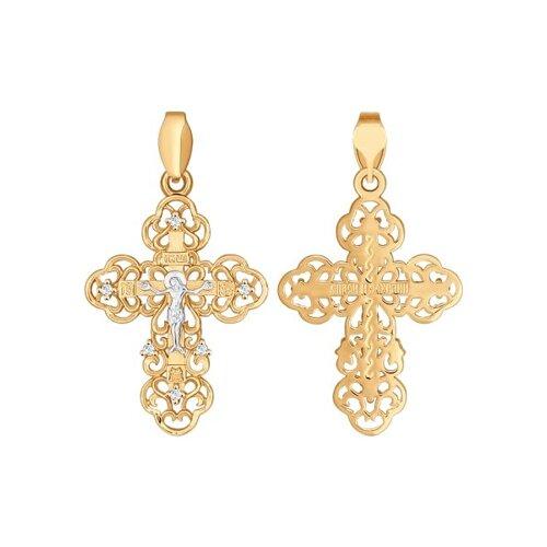 Крест из золота с фианитами (121288) - фото