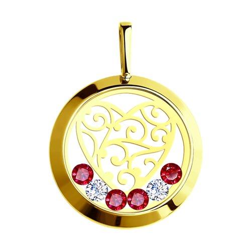 Подвеска из желтого золота со Swarovski Zirconia, минеральным стеклом и красными фианитами (035191-2) - фото